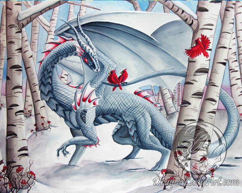 white dragon in a birch forest with red cardinals