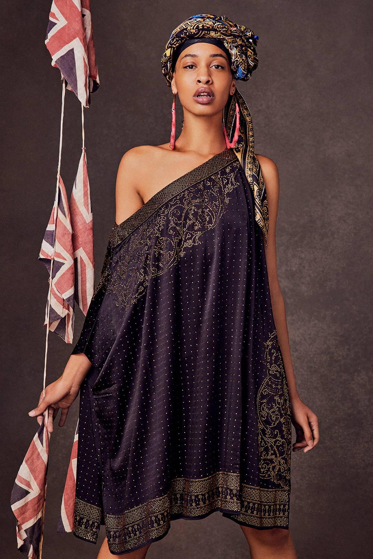 CAMILLA Luxe Black Kaftan | One shoulder kaftan with gold embellishments