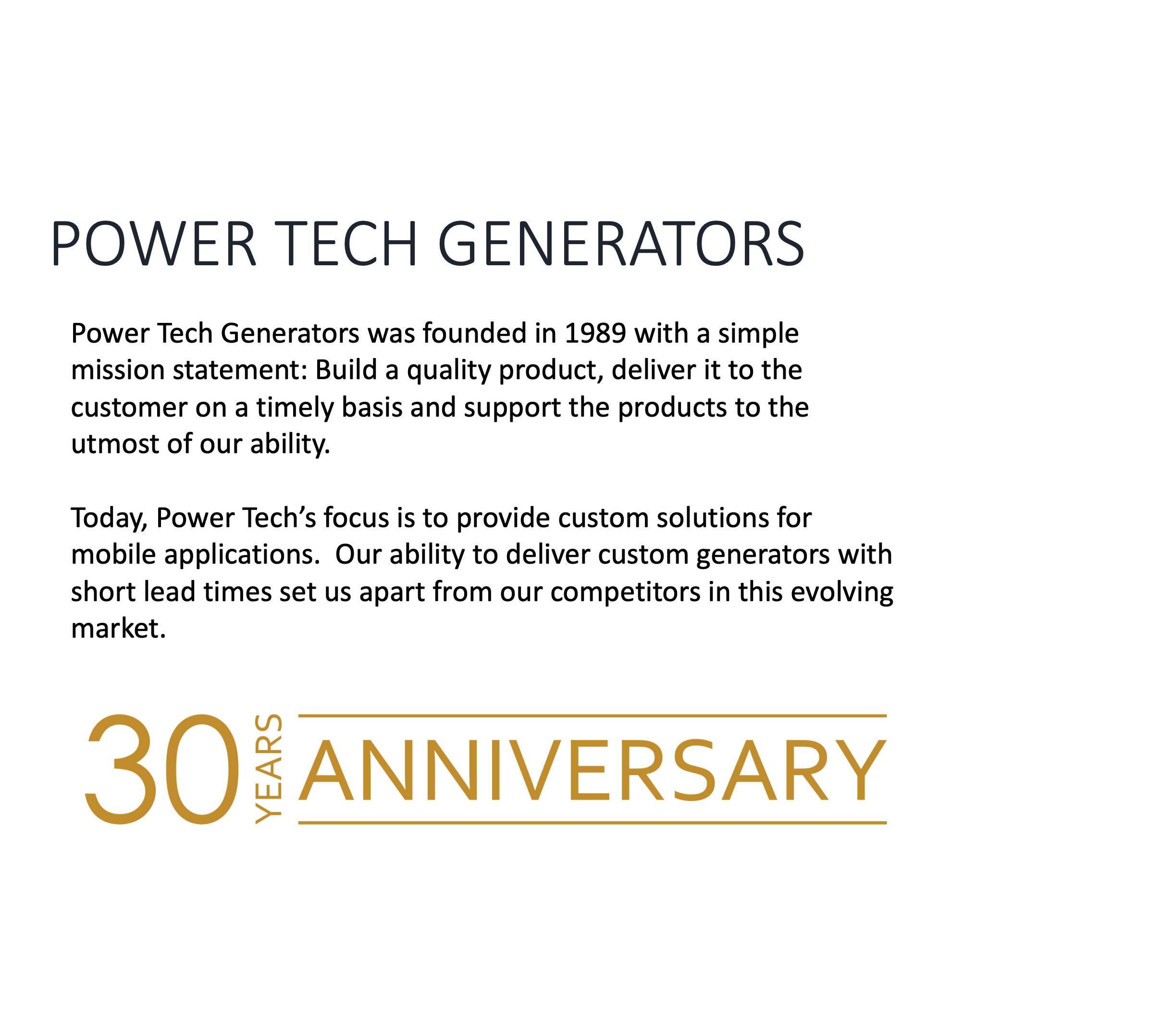 30 years in business building mobile custom generators