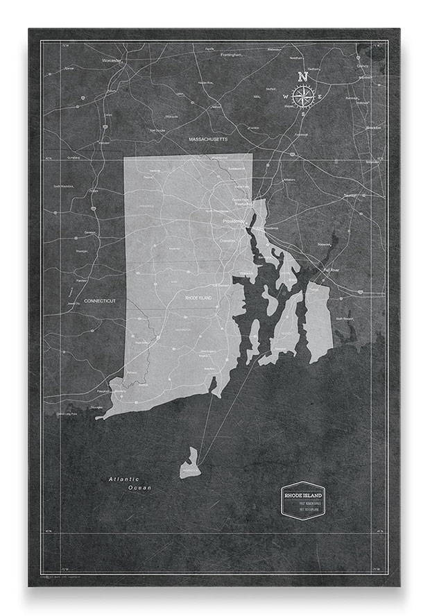 Rhode Island Push pin travel map modern slate