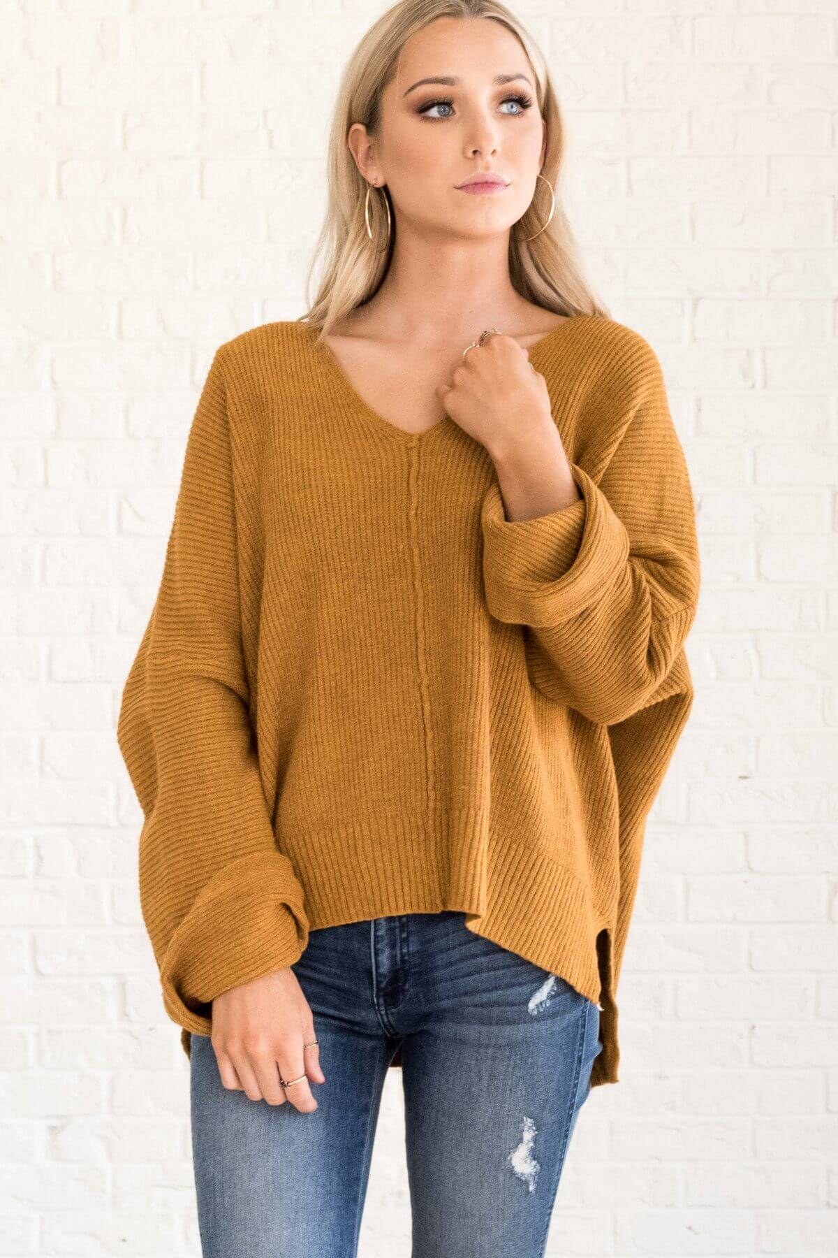 Mustard Yellow Oversized Pullover Sweaters for Fall and Winter