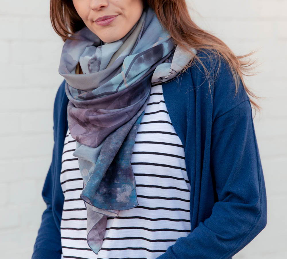 oversized blue silk scarf spring summer