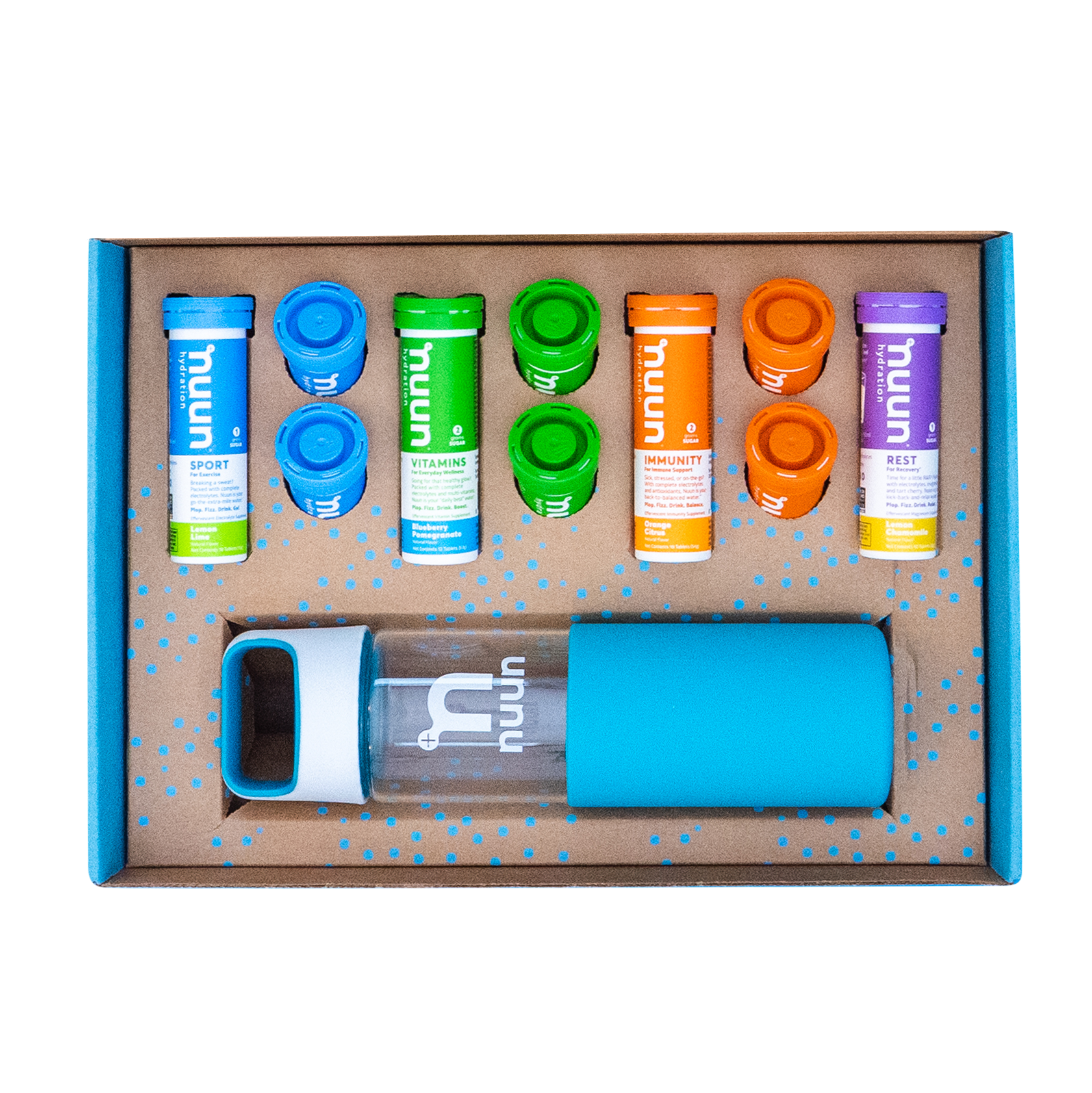 Nuun Hydration cardboard box with drink tube tablets and glass waterbottle