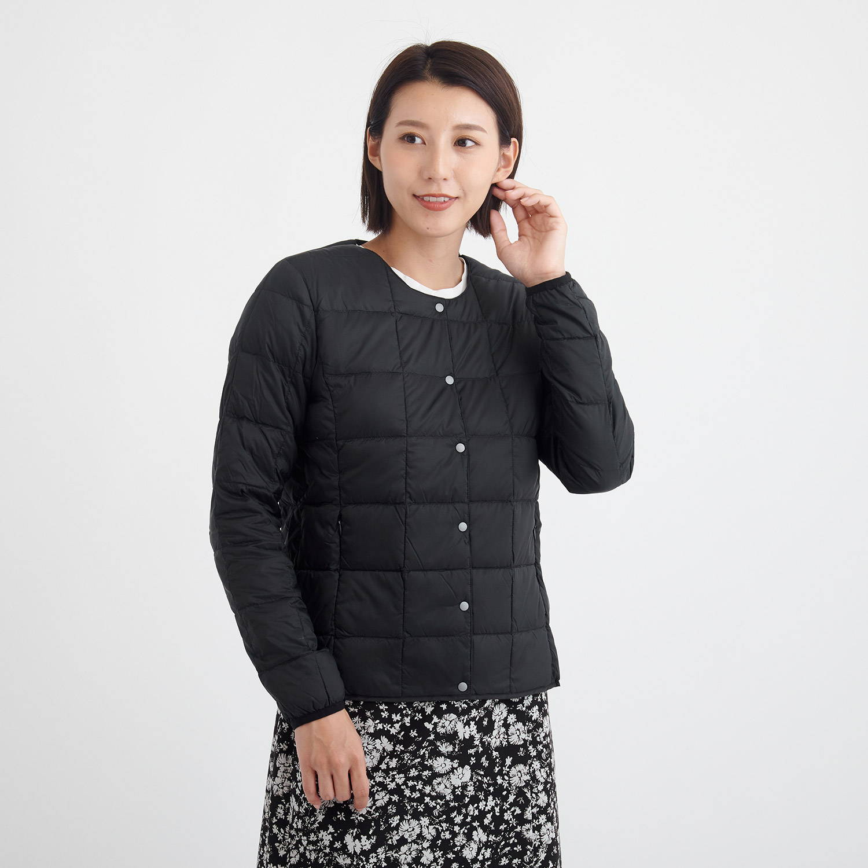 TAION(タイオン)/クルーネックボタンダウンジャケット/ブラック/WOMENS
