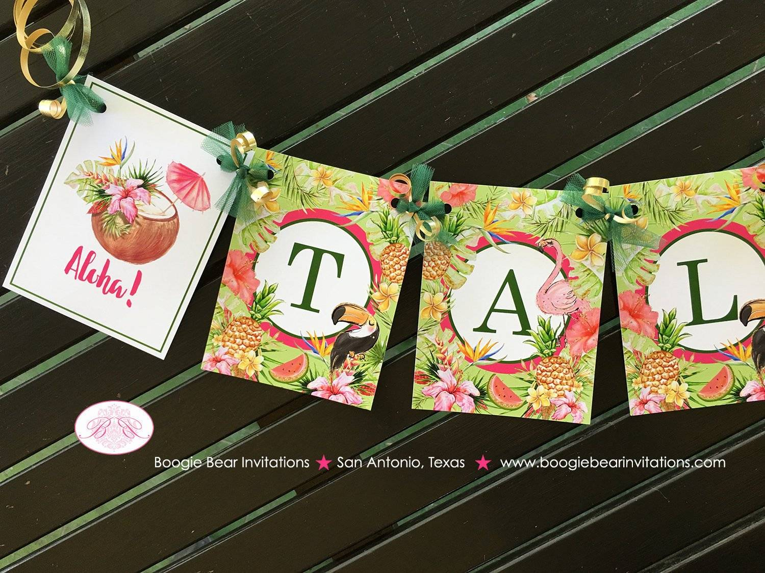Tropical Paradise Tallulah Theme Birthday Banner
