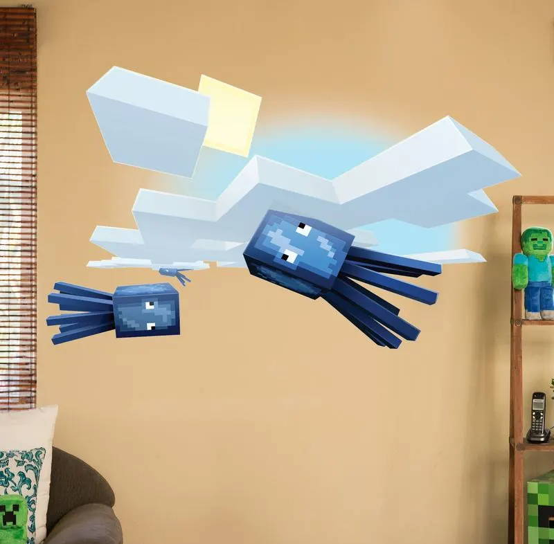 Minecraft Flying Squid Wall Decal shown on a bedroom wall