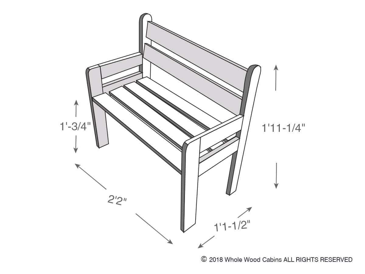 Drawing of a kids bench included in the kids playhouse