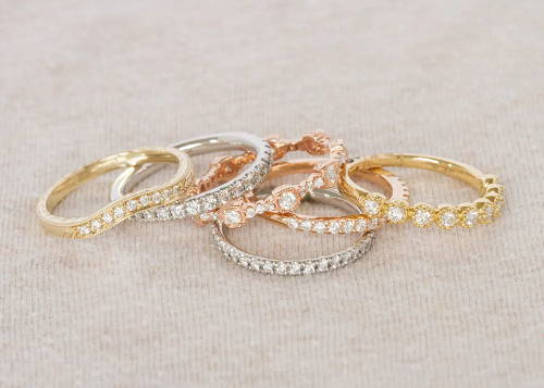 Stack off multi colored wedding bands