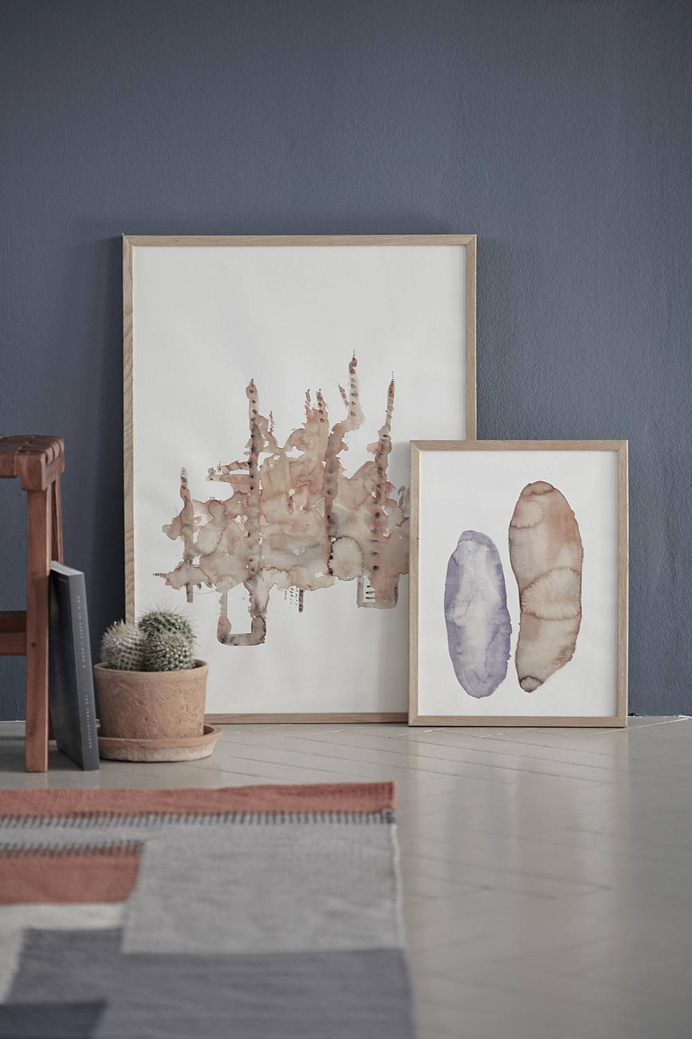 art watercolour pieces with cactus and rug