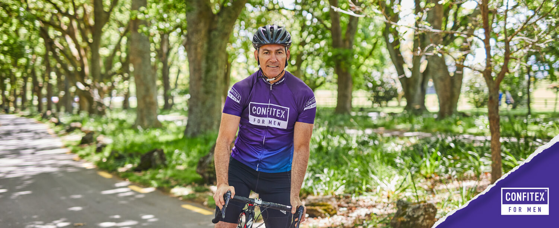 Confitex men's health and wellness ambassador Tony Marsh with bicycle
