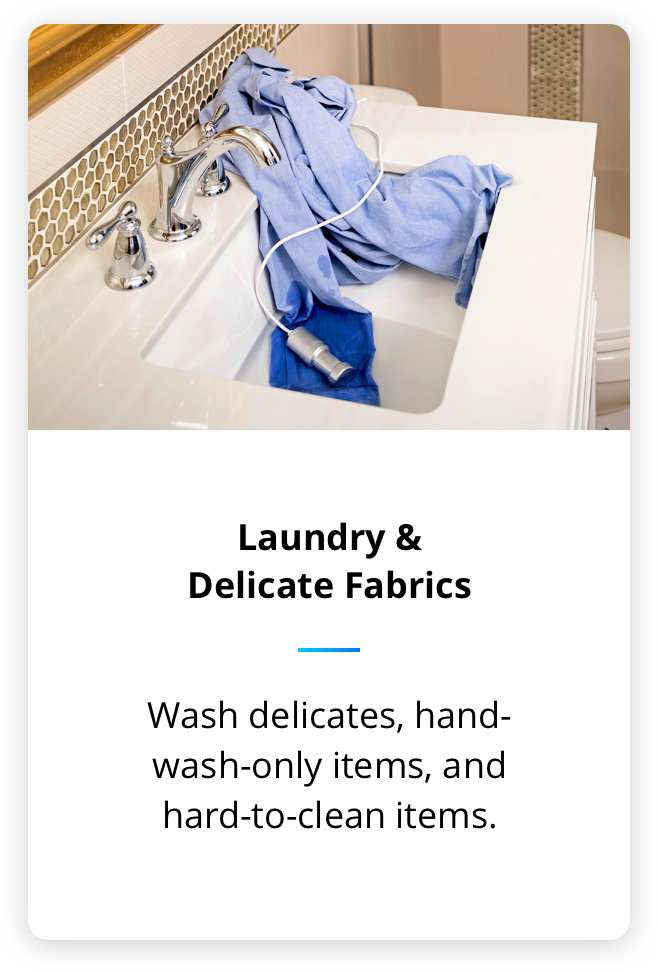 Wash your hard to clean laundary and delicate fabrics with this ultasonic soak