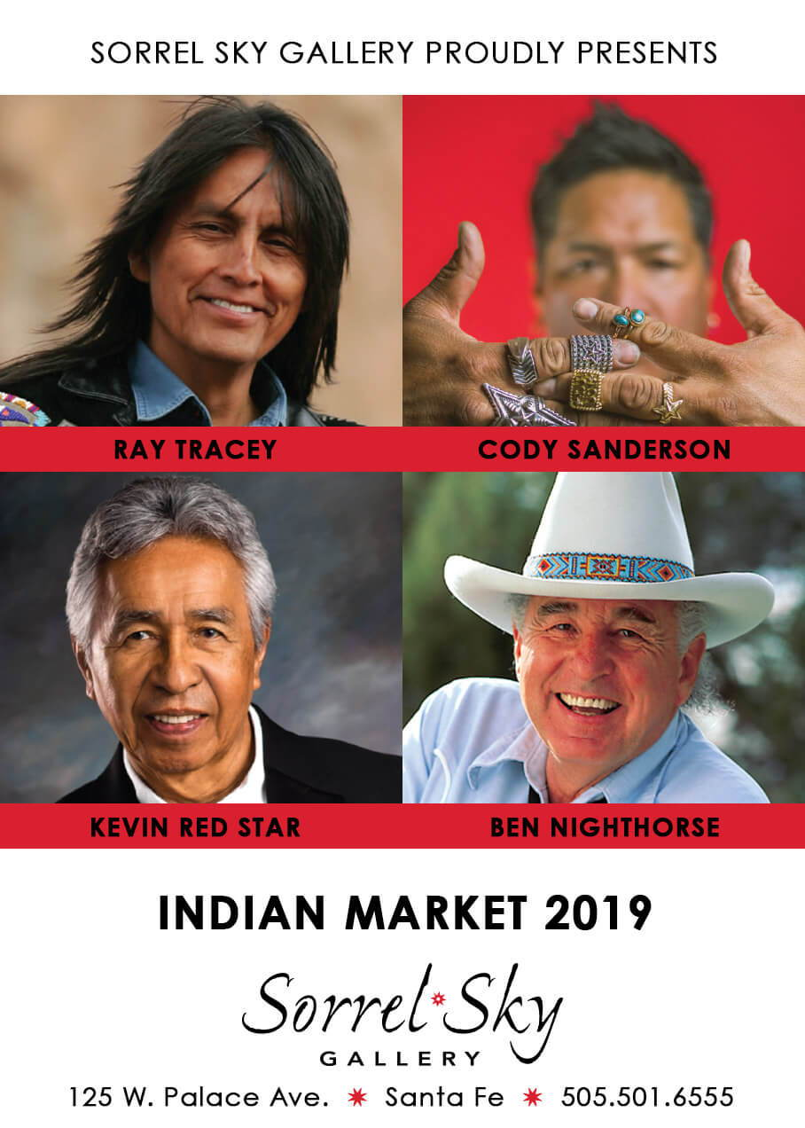Indian Market. Santa Fe Art Gallery. Kevin Red Star. Ben Nighthorse. Cody Sanderson. Ray Tracey. Ray Tracey x Cody Sanderson Collaboration. Collab