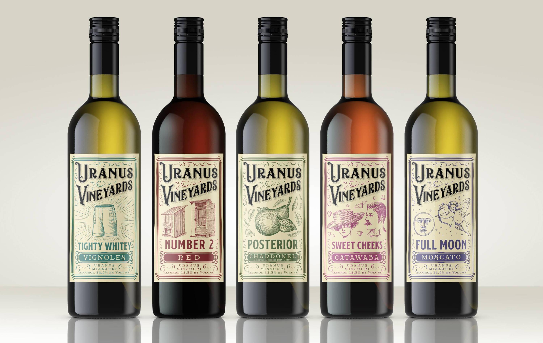 Uranus Vineyards wine bottles.