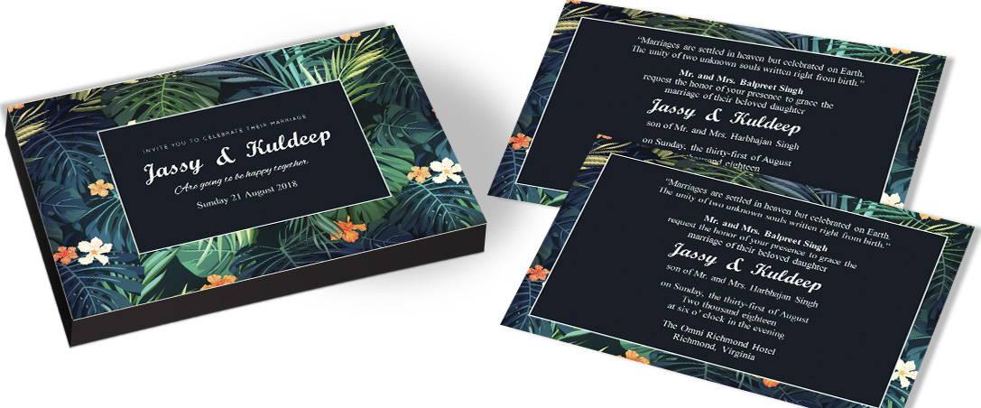 Photo framed Invitation for Leaves theme Wedding