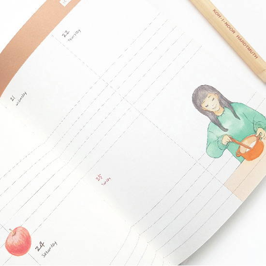 Cute illustration - O-CHECK 2020 Shiny days hardcover dated weekly diary planner