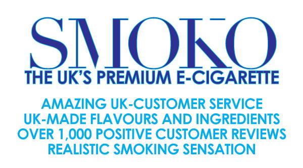 SMOKO bietet erstaunlichen britischen Kundenservice. In Großbritannien hergestellte Aromen und Zutaten. Über 1000 positive Kundenbewertungen. Realistisches Rauchgefühl.