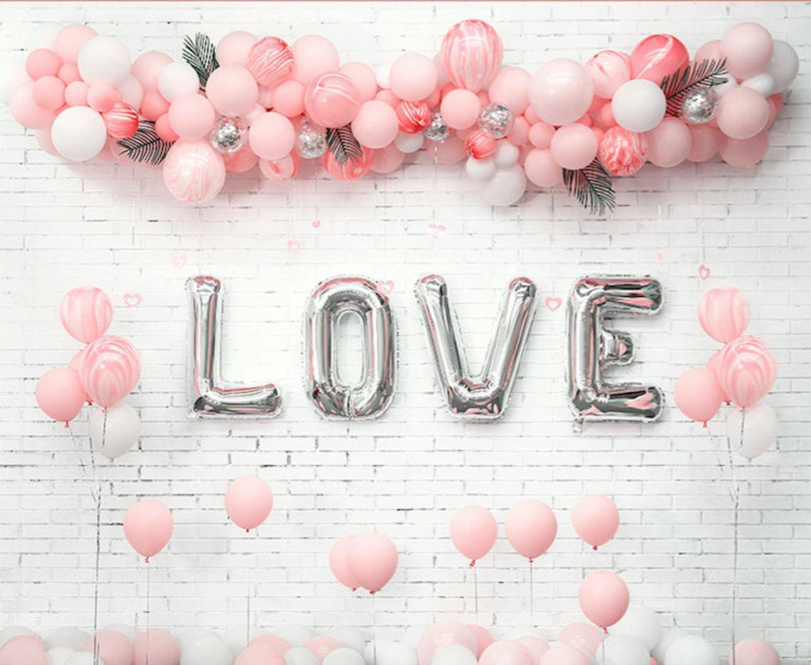 "Valentine's day Silver ""Love"" with Pink Marble Balloon Garland Set 