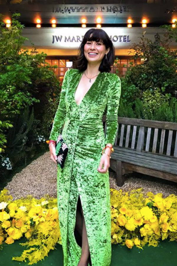 Jasmine Hemsley wears Galvan London Green Velvet V neck Wrap Dress