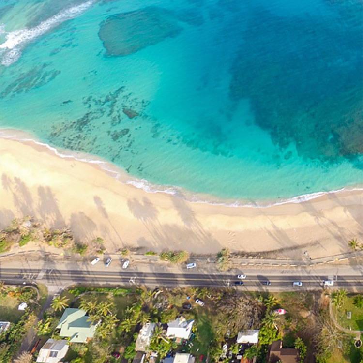 Ariel view of Oahu