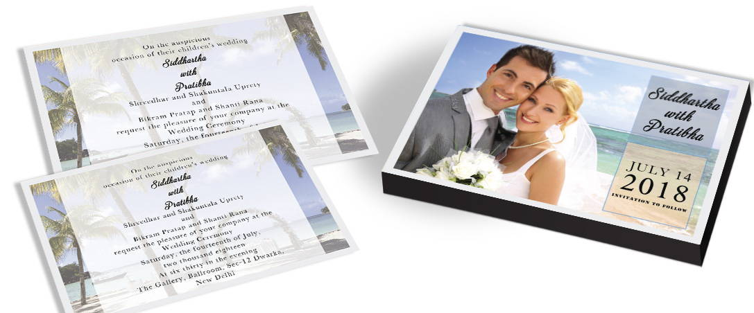 Indian Marriage Invitation card with Couple Photo