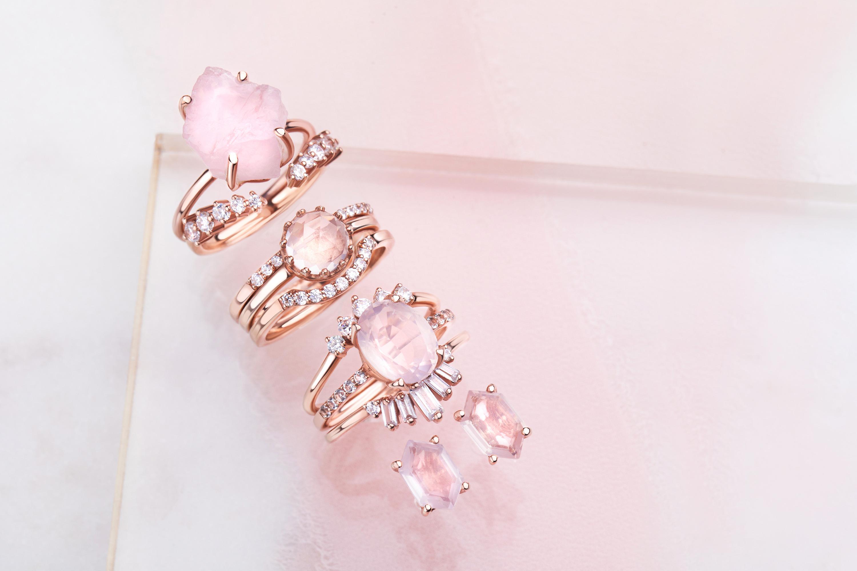 Rose Quartz and Clear Quartz Jewelry Set