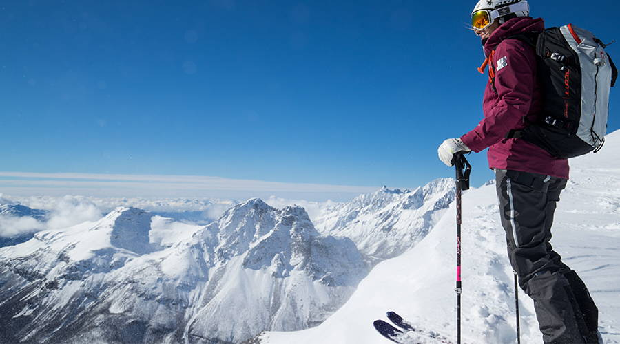 Amie Engerbretson getting ready to drop into the Andes mountains on her skis