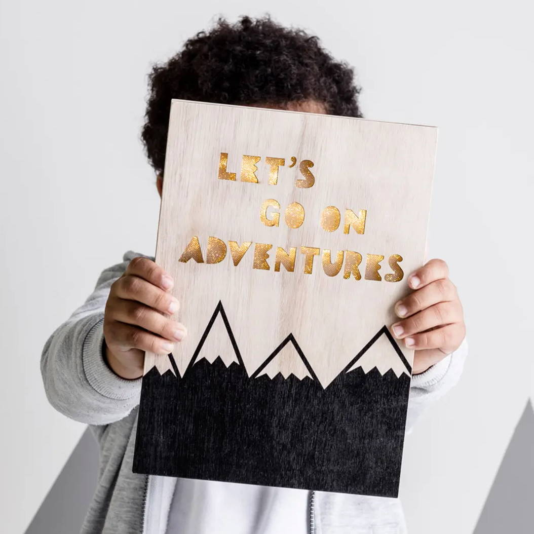 adventure slogan children's LED wall light