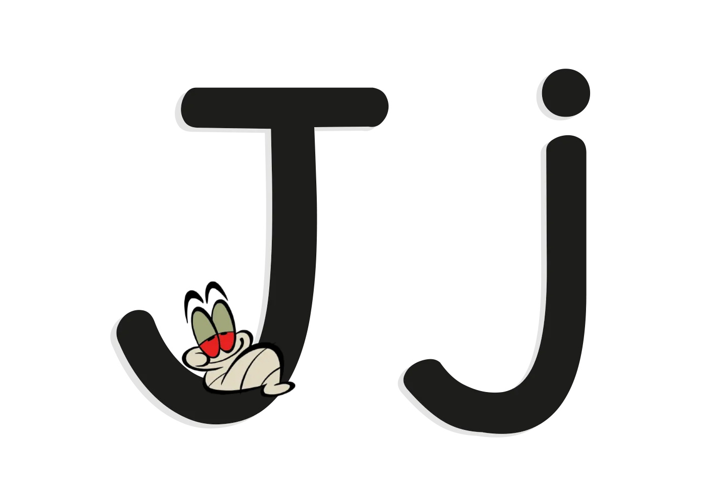 The letter J with an illustrated worm
