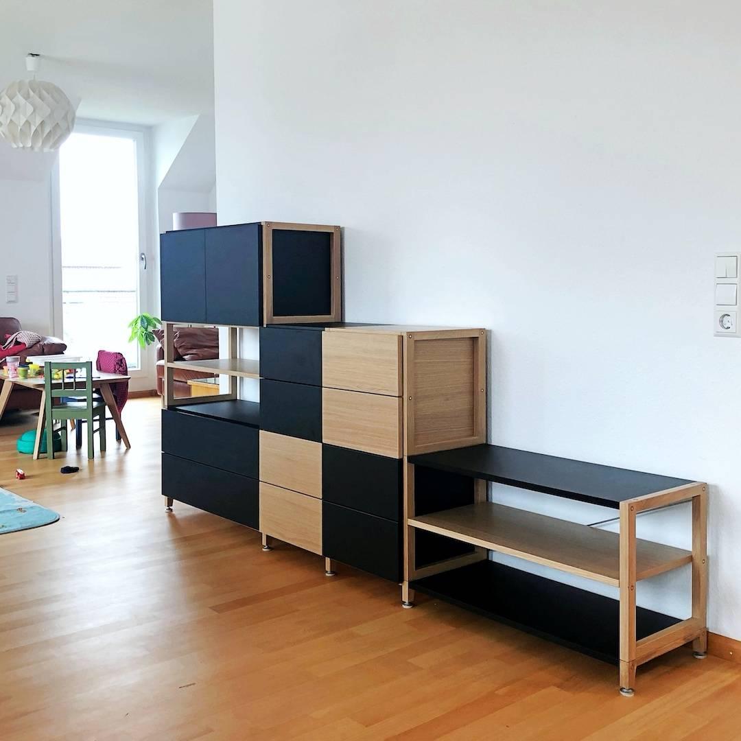 Pazls One Lowboard-Sideboard Eiche Schwarz individuell konfiguriert