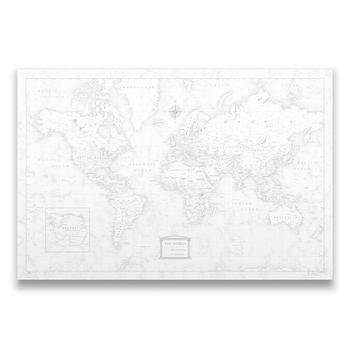 Push Pin World Map w/Push Pins - Classic Marble