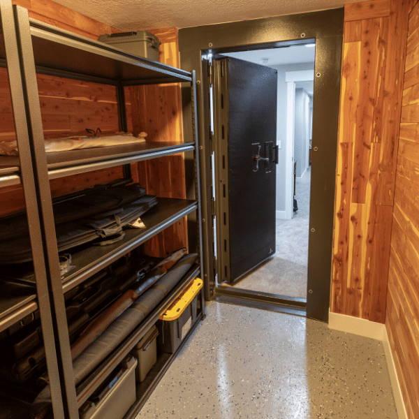 insdie vault room looking out with vautl door openth