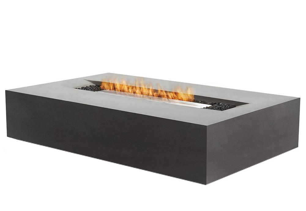 A rectangular concrete fire pit