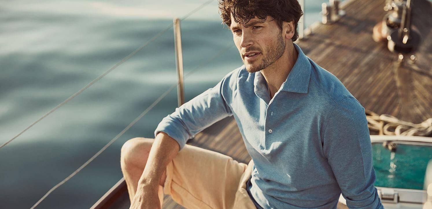 Luca Faloni blue long sleeve polo shirt made in Italy