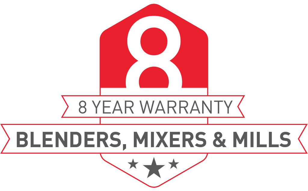 8 Year Warranty on Blenders, Mixers, and Mills