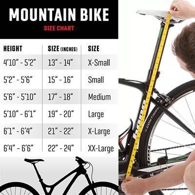 Electric hunting bike sizing chart.