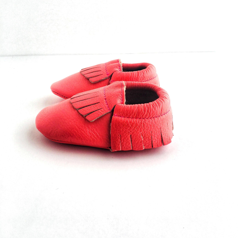 Bright Pink Lemonade colour sole view soft sole shoes with fringe