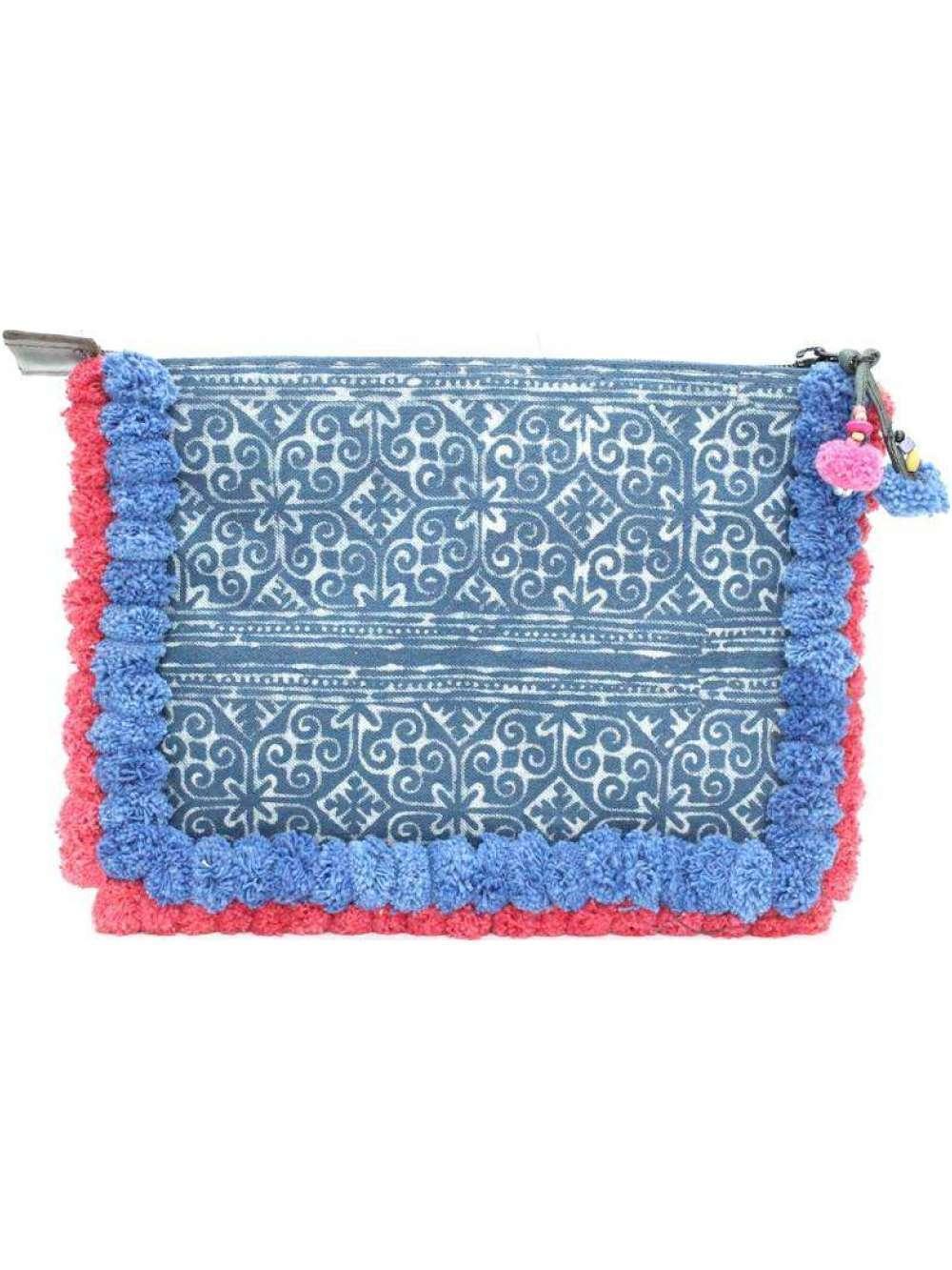 Batik Oversized Clutch with Blue Pom Poms