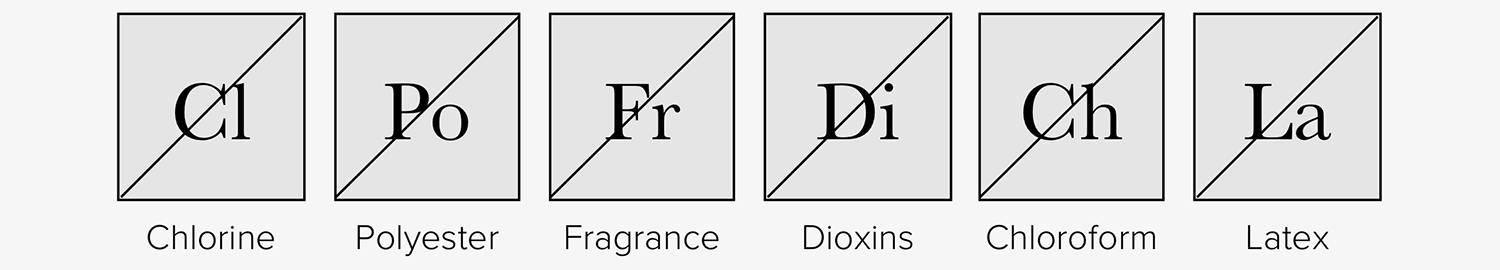 "Six squares that resemble elements. Each has a diagonal line from bottom left to top right and read ""Cl,"" ""Po,"" ""Fr,"" ""Di,"" ""Ch,"" & ""La"""