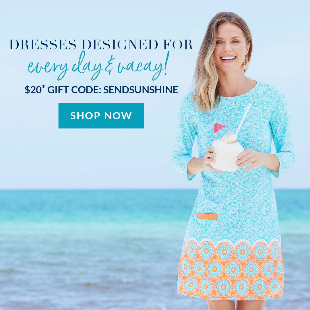 Woman wearing Aqua Citrus Cabana Shift Dress. $20 Gift Code: SENDSUNSHINE. Shop dresses now.