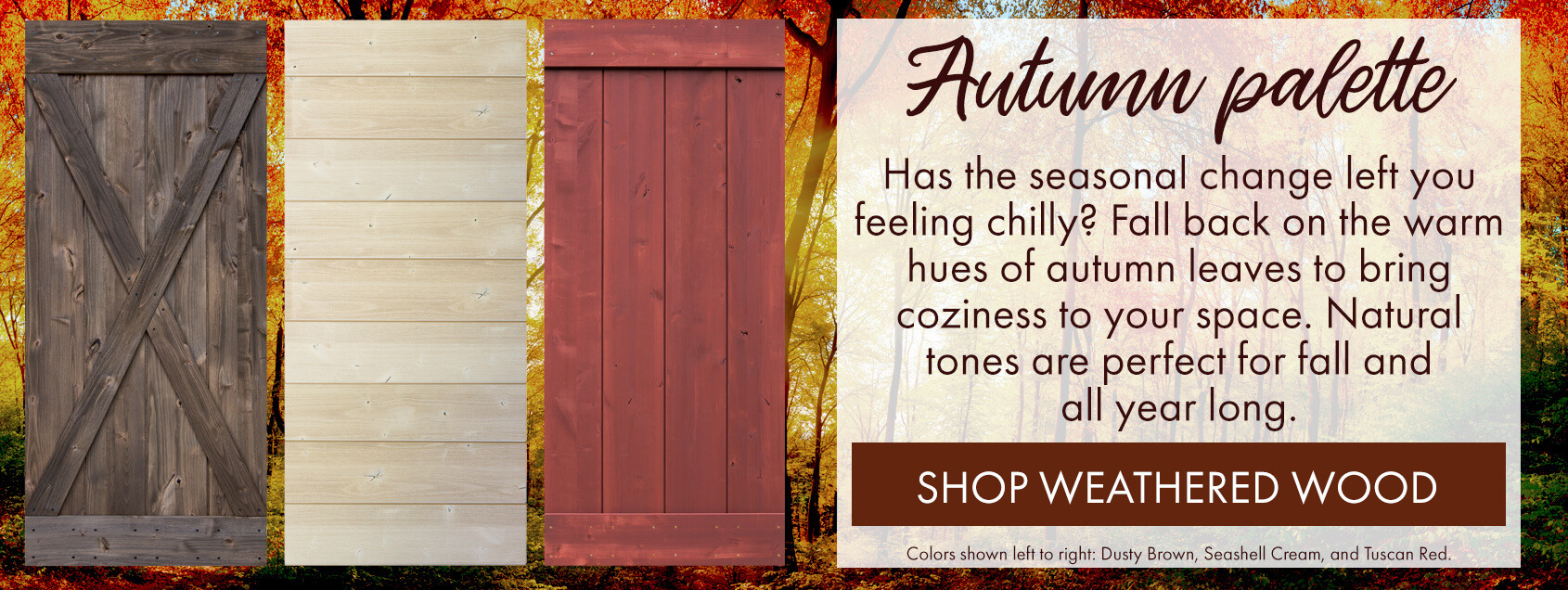 sliding barn doors for fall in autumn colors