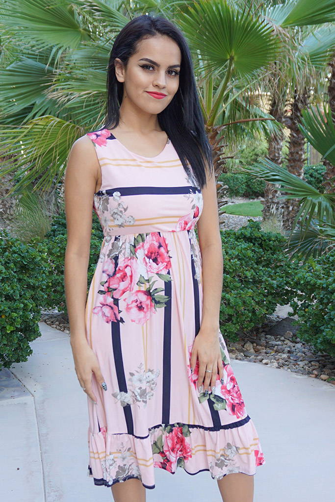 Pink Floral Stripe Sleeveless Midi Dress
