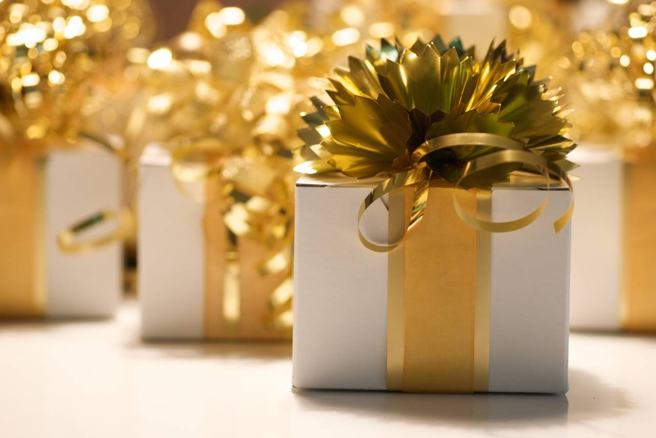 Presents with gold ribbons