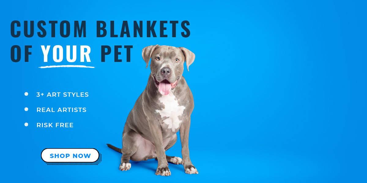 Custom blanket art of your dog cat or pet on fleece blankets