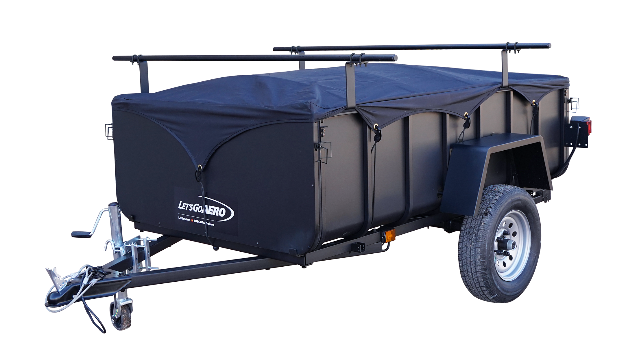 Trailer with soft cover and gear mount for boats and bikes