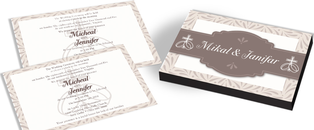 Ring Cross Catholic Wedding Invitation Card