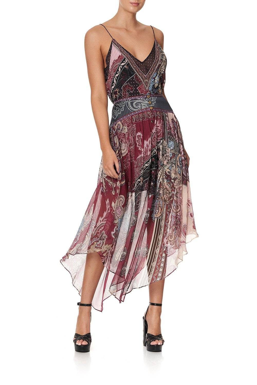 CAMILLA burgundy and paisley detailed midi skirt.