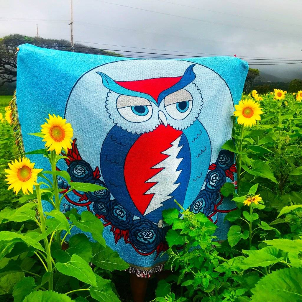 Grateful Dead Owl Blanket in Sunflower field