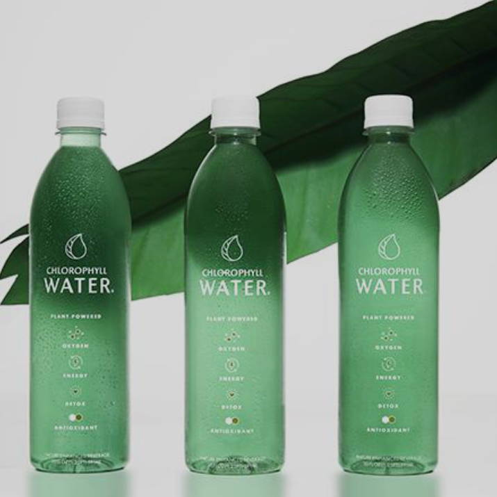 chlorophyll water bottles in front of plant leaf