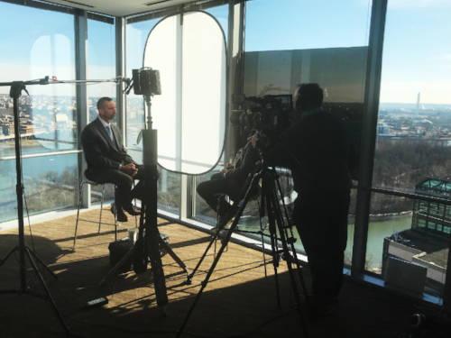 FoxFury T56 light provides balanced lighting on an interview subject.