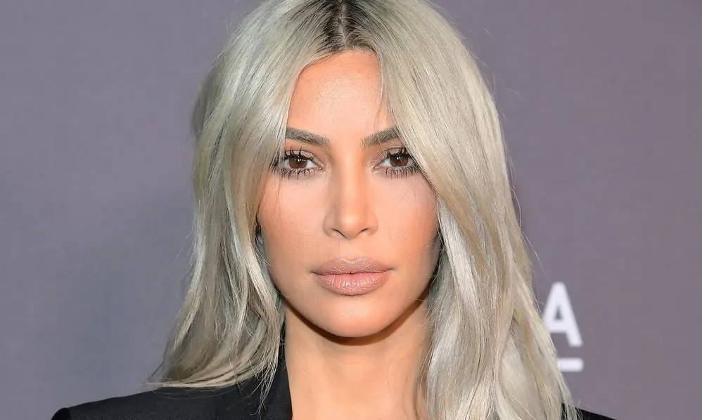 Kim Kardashian with bleach blonde hair